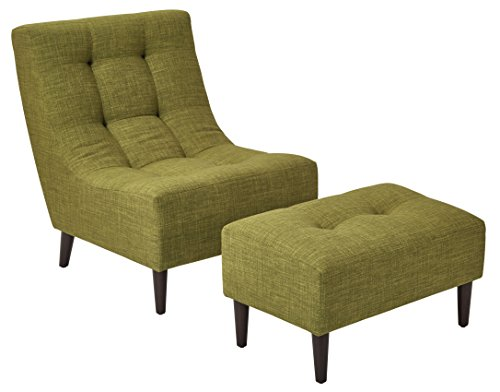 - Office Star Upholstered Hudson Chair and Ottoman Set with Espresso Finish Legs, Green