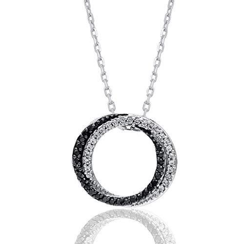 1/6 Carat Natural Diamond Pendant Necklace 925 Sterling Silver (HI Color, I3 Clarity) Circular Diamond Pendant Necklace for Women Diamond Jewelry Gifts for - Circular Necklace