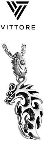 /Argent/é Cha/îne avec dragon pour homme Pendentif Dragon en acier inoxydable par Vittore/