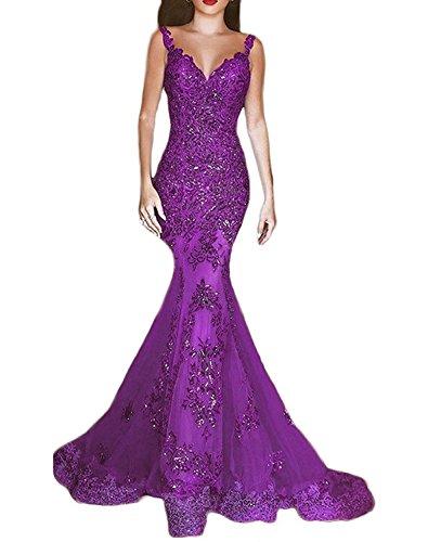Nicefashion Women's Vintage Illusion Evening Prom Dress Glamorous Mermaid Wedding Dress Purple US16 (Purple Masquerade Dresses)
