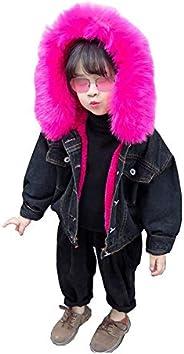 Kids Little Big Girls Winter Hooded Fur Collar Thick Denim Jacket Coat Outwear