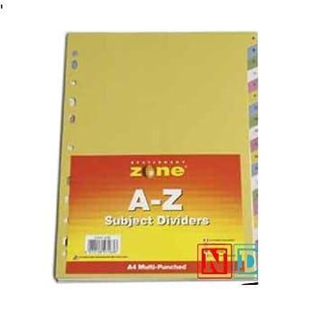 A-Z, tamaño A4, separadores para archivador (: Amazon.es: Oficina y papelería