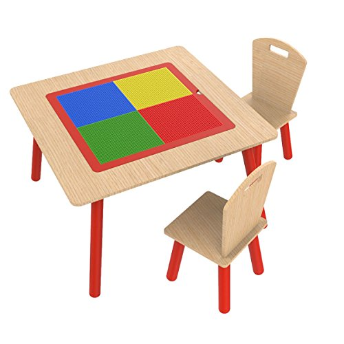 All In Fun 4 in 1 Flip Top Multi-Function Building Block Kids Table and Chair Set