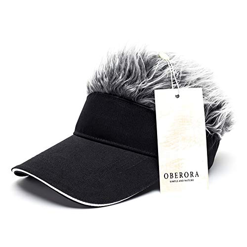 (OBERORA Flair Hair Visor Sun Cap Wig Peaked Adjustable Baseball Hat with Spiked Hairs)