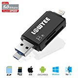 USB 3.0 SD / Micro SD Card Reader with Lightning & Micro USB connector, LOWYEE Memory Card Adapter for iPhone/iPad/Android Phones/Mac/PC, Trail Camera Viewer for Serious Hunter