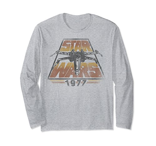 T-shirt Adult 1977 (Unisex Star Wars X-Wing 1977 Vintage Retro Graphic Long Sleeve Tee Large Heather Grey)