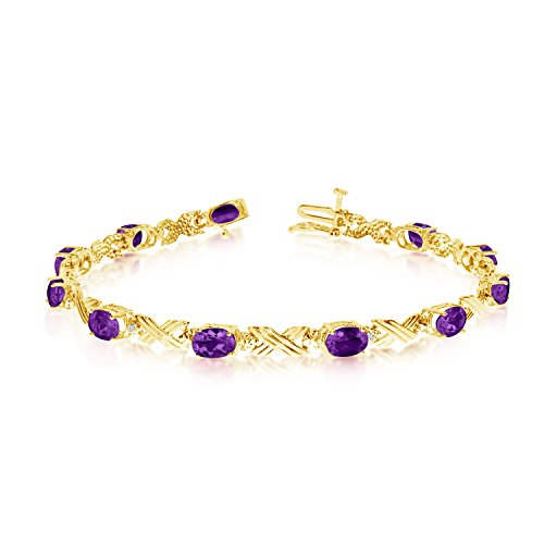 "3.74 Carat (ctw) 14k Yellow Gold Oval Purple Amethyst and Diamond 'X' Link Tennis Bracelet - 7"" Length"