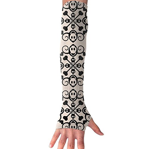 Unisex Abstract Skull Crossbones Ornament Sunscreen Outdoor Athletic Arm Warmer Long Sleeves Glove