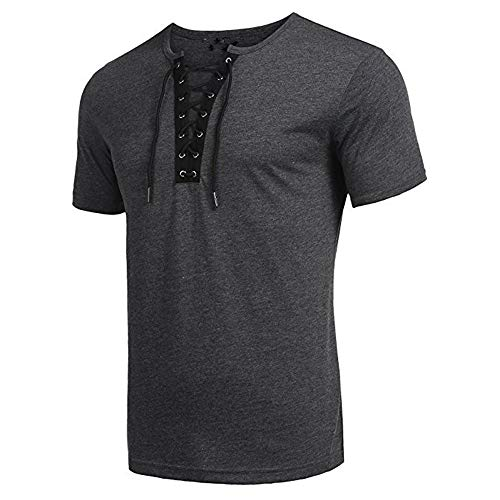 NUWFOR Men's Trend Personal Band Short Sleeve T-Shirt Pure Color Blouse Top(Gray,M US/XL AS Bust:39.3'' by NUWFOR (Image #2)
