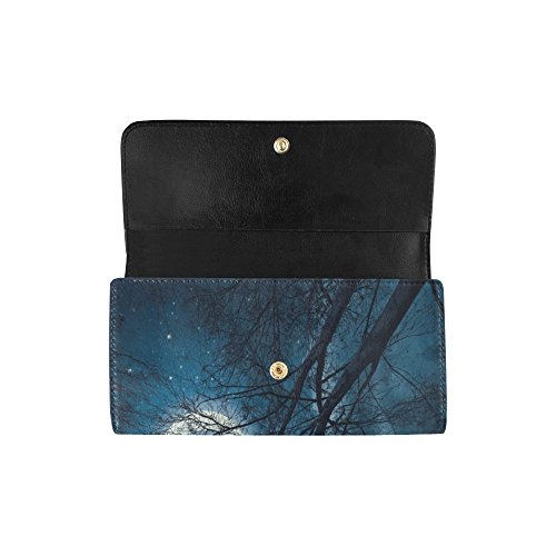 Clutch Silly Custom Long With Stars Planets Dark Great Moon Clouds And Meow Cute Gift Stars Sky Wallet Women's Wallets Trees Trifold Moon Women's fxq7fr