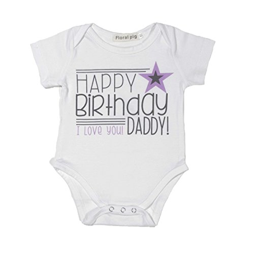 [Winzik Newborn Infant Baby Boys Girls Outfits Happy Birthday Daddy Letters Print Romper Jumpsuit Clothes T-shirt (0-6 months, White-purple] (Christmas Outfits Baby)