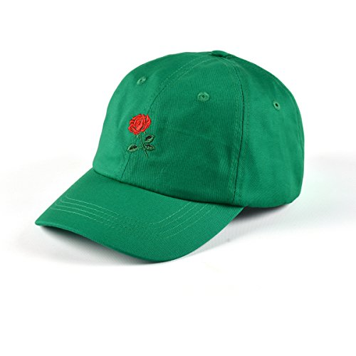AUNG CROWN Rose Embroidered Dad Hat Women Men Cute Adjustable Cotton Floral Baseball Cap (Kelly Green)