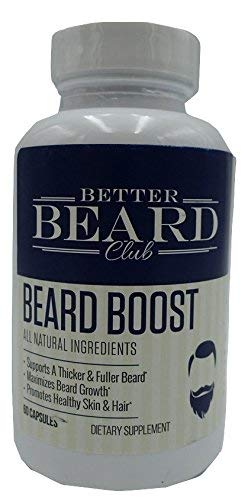 Better Beard Club- Beard Boost- All Natural Premium Beard Supplement- Supports Thicker and Fuller Beard, Maximizes Beard Growth, Promotes Healthy Skin and Hair