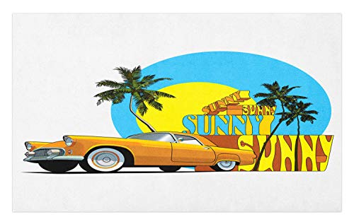 Ambesonne Retro Doormat, Vintage Car in Magic City Miami with Exotic Coconut Trees Sunny Day Beach, Decorative Polyester Floor Mat with Non-Skid Backing, 30