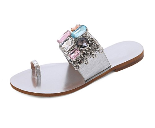 Stupmary Women Beach Sandals Summer Flats Sandalias Crystal Flip Flops Woman Shoes Chains