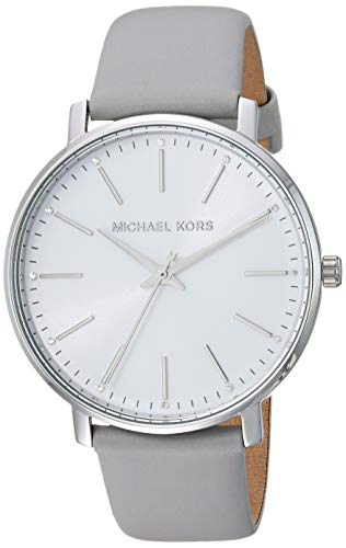 Michael Kors Women's Pyper Stainless Steel Quartz Watch with Leather Strap, Silver/Grey/White, 18 ()