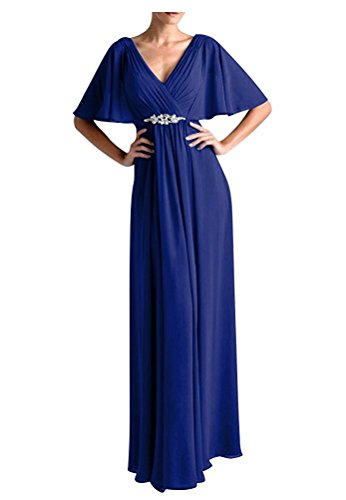 - Women Vintage Beads Chiffon Long Prom Dresses Wedding Party Gown Royal Blue US24W