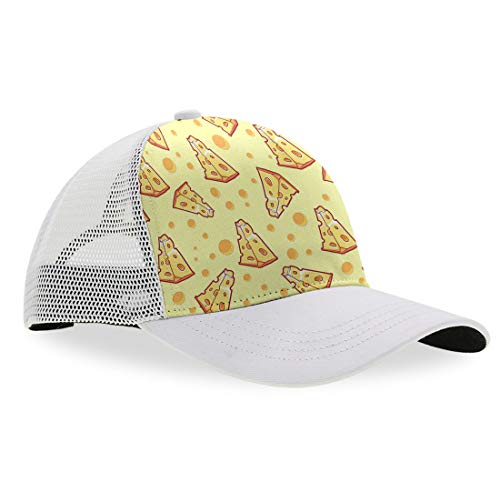 Pizza Cheese Dad Baseball Cap Unisex Adult Dad Hat Trucker Hat Adjustable Snap Slouch Hat, Breathable Moisture Wicking Ball Cap Casual Snapback Hat Running Cap ()