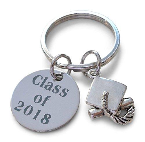 Graduation Key - Class of 2018 Keychain with Graduation Cap Charm, Graduation Gift Keychain for Graduate