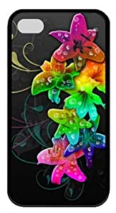 Colorful Flowers TPU Black Case for iphone 4S/4