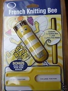 Classic Knit French Knitting Bobbin, 4 Pin, Banana Rama Yellow, With Awl Pom Pom