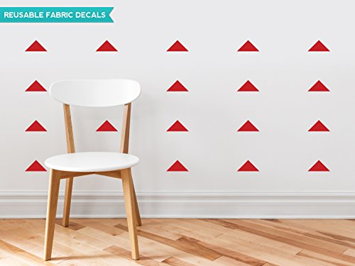 Sunny Decals Wide Triangle Fabric Wall Decals (Set of 48), Red (Polyester Decal Shape)