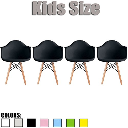 2xhome - Set of Four (4) - Black - Kids Size Eames Armchairs Eames Chairs Black Seat Natural Wood Wooden Legs Eiffel Childrens Room Chairs Molded Plastic Seat Dowel Leg… by 2xhome