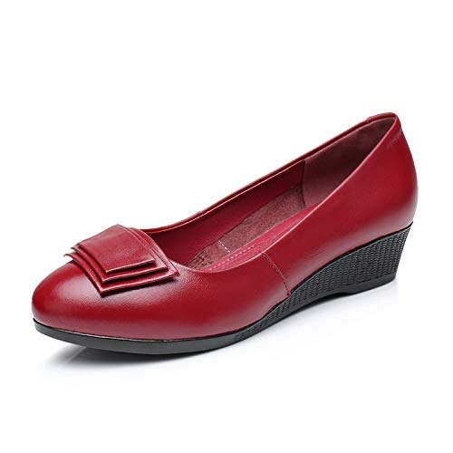 fashion shoes wedge I shoes work pointed leather thick autumn shoes comfortable bottom shoes FLYRCX Spring and ladies 1FI7xaZ