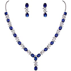 Silver-Tone Zirconia Necklace And Earrings Set