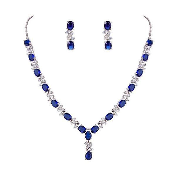 EleQueen Women's Silver-Tone Cubic Zirconia Oval Shape Leaf Necklace Earrings...