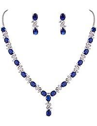 Women's Silver-tone Cubic Zirconia Oval Shape Leaf Bridal Necklace Earrings Set