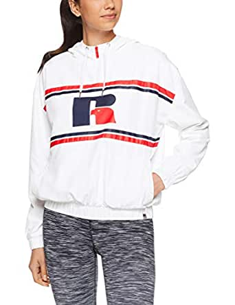 Russell Athletic Women's 1/4 Zip Eagle R Jacket, White, 10