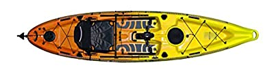110R-Y/O-D Fishing Kayak Riot Mako 12'' ft Sit on Top with Impulse Pedal Drive, Deluxe, Yellow/Orange from Kayak Distribution