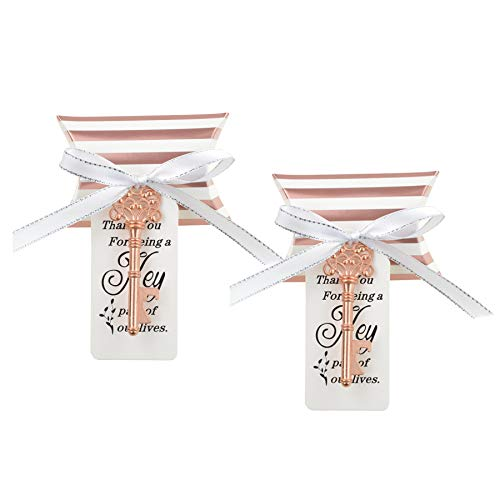 DerBlue 60 PCS Key Bottle Openers Wedding Favors Rustic Decoration with Love Escort Tag Card Pillow Candy Box and Satin Ribbon(with ROSE Gold Stripe)