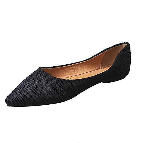 Meeshine Women's Pointy Toe Ballet Flats Comfortable Slip-on Classic Dress Shoes (Classic-Black US 10)