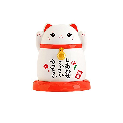 China Toothpick Holder - Small Jewelry or Q-tip Cotton Swabs Holder Mini Toothpick Holder Cute Lucky Cat for Home hotel restaurant kitchen Dust-proof Decoration Case Box Storage Organize,2.6x2.6x3 inch (White)