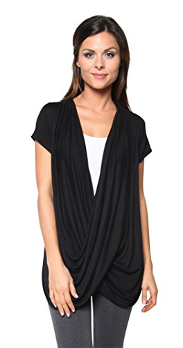 Free to Live Women's Lightweight Short Sleeve Criss Cross Pullover Nursing Top (Medium, Black)