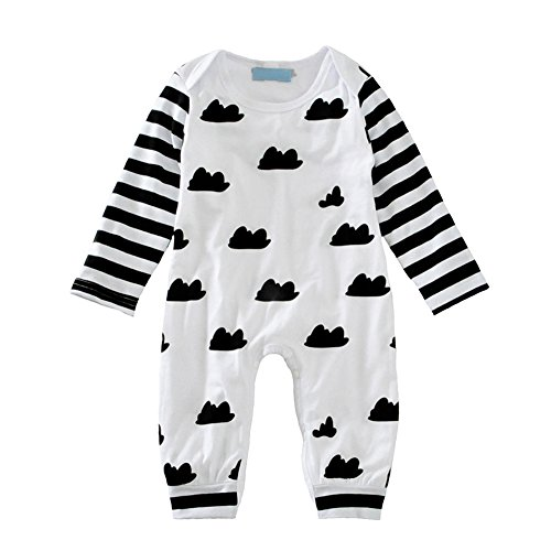 Weixinbuy Baby Boy Girl Clouds Pattern Cotton Romper Bodysuit Jumpsuit Playsuit