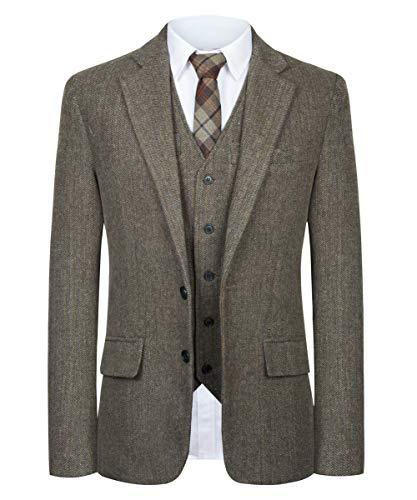 (CMDC Men Suit Slim Fit Tweed Wool Blend Herringbone Vintage Tailored Modern Fit Suit SI178-SPV-Brown-42R)