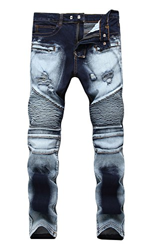 Hip Zipper Vintage Clothing - OKilr Pjik Men's Moto Biker Vintage Washed Zipper Straight Slim Fit Denim Jeans Dark Blue