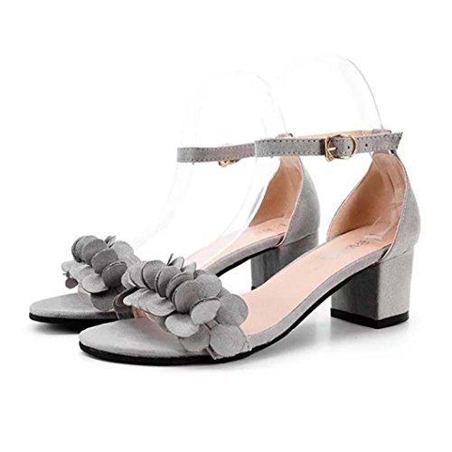 抽出天気電子レンジ夏サンダルクリアランスtoimothレディースブロック高ヒールサンダル花エレガントな靴チャーミングバックル飾りハイヒール 35 ピンク