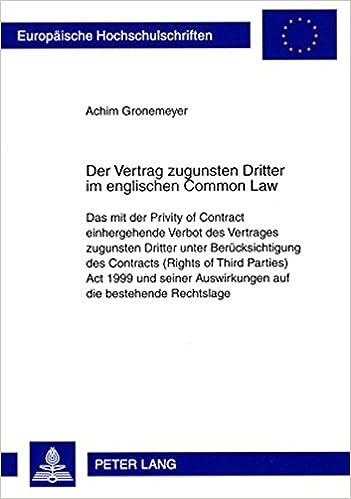 Der Vertrag Zugunsten Dritter Im Englischen Common Law Das Mit Der