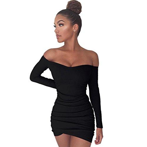Creazydog Femmes Creazy Au Large Épaule Moulante Longue Soirée Manches Mini Robe Noire