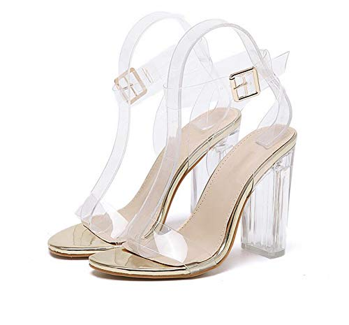 HANBINGPO 2019 PVC Jelly Sandals Crystal Leopard Open Toed High Heels Women Transparent Heel Sandals Slippers Pumps 11CM,Golden,8