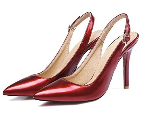 YCMDM donne grandi taglie a righe con tacco alto Sandali a bocca liscia , red , 36