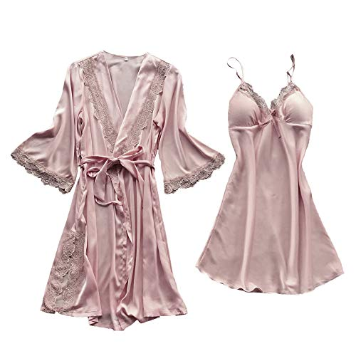 Cenglings Women Sexy Lingerie Silk Lace Robe Dress Babydoll Nightdress Sleepwear Kimono 1pc Dress+1pc Kimono Pajamas - Flannel Crazy Pajamas