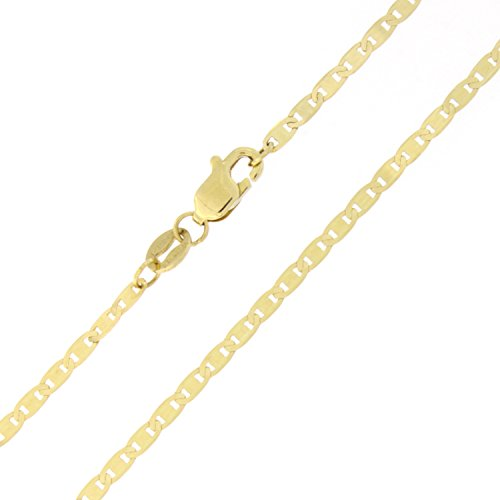 Solid 14k Yellow Gold 1.7mm Mariner Chain Anklet, 10'' by Beauniq