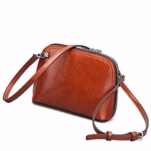 Messenger Bag Zip Shelled Leisure Simple Shoulder Retro Bag Brown Leather TnxUaYFq4
