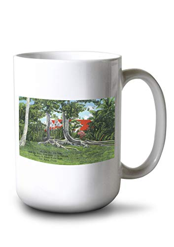 - Fort Myers, Florida - T. Edison Winter Home; View of Moreton Bay Fig Tree and Ford House (15oz White Ceramic Mug)