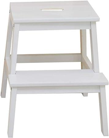 Escaleras Escalerillas Escalera de 2 Pasos de Madera Silla Taburete Escalera portátil Ligero Multifuncional de Escalera/Escalera Silla para niño Adulto para baño Library Home - máx. 150 kg,Blanco: Amazon.es: Hogar